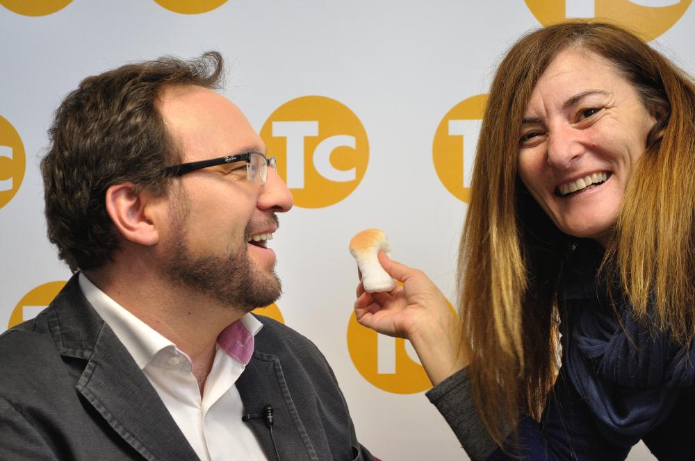 Gonzalo Osés con la maquilladora Sagra Ramos